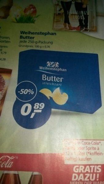 real Saarland (Saarbrücken, Saarlouis, Bexbach, Homburg) - Weihenstephan Butter 250g für nur 0,89€ (50% Rabatt)
