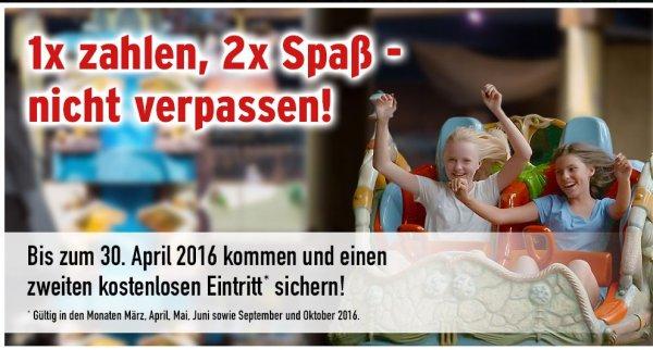 """Phantasialand Aktion """"1x zahlen, 2x Spaß"""" Gutschein für 2. kostenlosen Eintritt, Kinder 29€, Erwachsene 45€"""