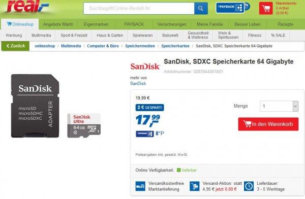 [real] SanDisk Mobile Ultra microSDXC 64GB UHS-I Class 10 offline und online (bis 20.3. versandkostenfrei)
