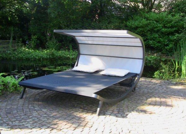 Leco Garten Sonnenliege Davana Doppelliege Liege Sonneninsel + Dach Gartenliege