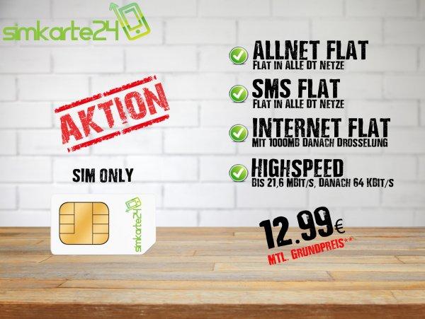 Simkarte24 Otelo XL Aktion Allnet Flat (Allnet Flat, SMS Flat, 1GB, 21,6 MBIT/S)