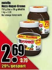 [diska]  21. bis 26.03.2016: 825g-Glas Nutella für 2,69 € (3,26 €/kg)
