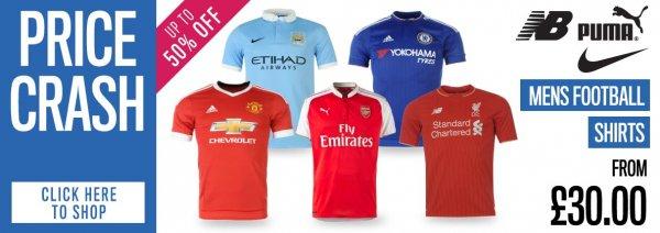 Fussballtrikots der Topclubs für 42,98€ inkl. Versand @sportsdirect
