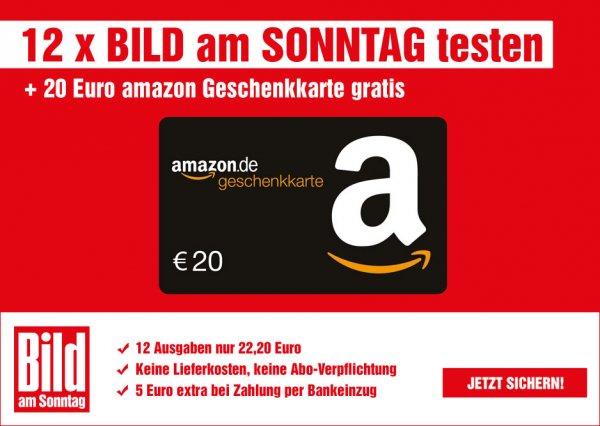 12 x Bild am Sonntag für 17 Euro + 20 Euro Amazon Gutschein bei bankeinzug