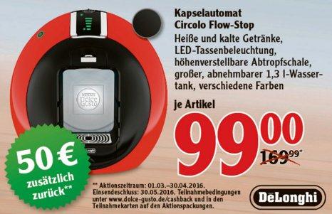 [WÄCHTERSBACH] Globus: Dolce Gusto Circolo Automatik Rot für 99€ (+50€ Cash-Back = 49€) inkl. 10€ Gutschein