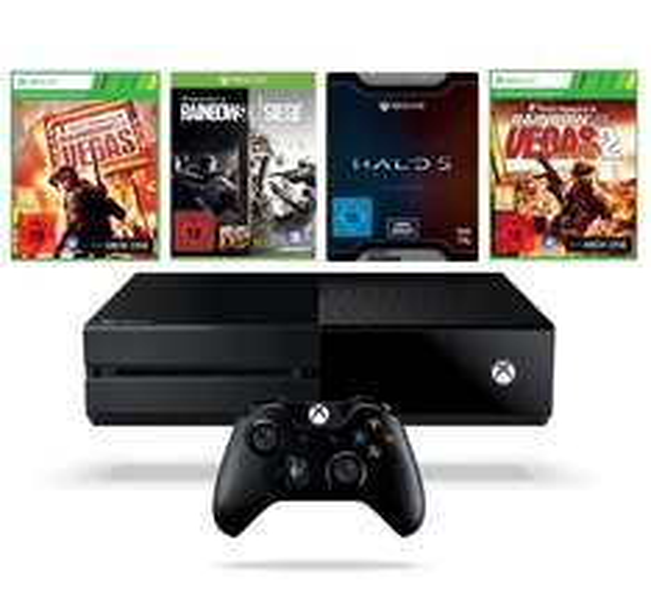 [Amazon] Xbox One 1TB + Rainbow Six Siege, Rainbox Six Vegas, Rainbox Six Vegas 2 und Halo 5: Guardians - Limited Edition für 324€