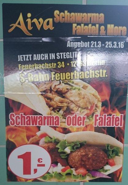 [Berlin Feuerbachstraße] Schawarma und Falafel 1 Euro