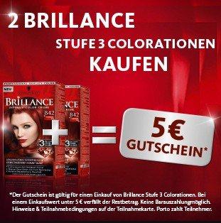 Schwarzkopf: 2x Brilliance Stufe 3 Colorationen kaufen, und 5 EUR Gutschein erhalten