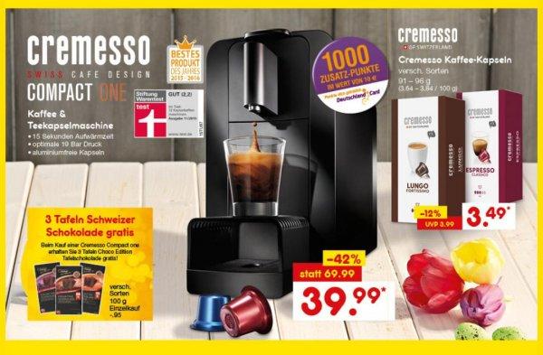 [Netto MD] Cremesso Compact One mit Schokolade und 1000 Deutschland Card Extrapunkten (effektiv 27,14€)