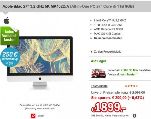 (redcoon) Apple iMac 27'' mit 5K Display für 1649€ (VGL: 1838€)