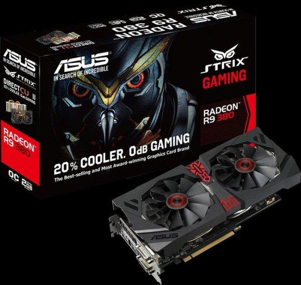 ASUS STRIX R9 380 mit Zero-Fan-Modus, 2GB GDDR5, 2x DVI, HDMI, DisplayPort für 171,89€ bei Cyberport