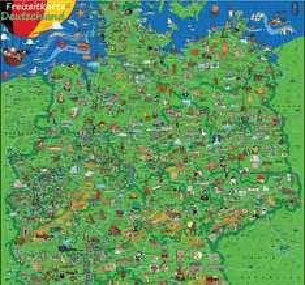 Deutschlandkarte 135 × 95 cm mit vielen bunten Bildern zu Sehenwürdigkeiten und Freizeitveranstaltungen laminiert (beschreib- und abwischbar) für 7,95 € [Amazon]
