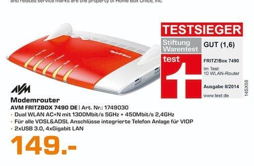 [Lokal Saturn Kassel/Baunatal] Tagesangebot am 26.03....AVM FRITZBox 7490 Wireless Lan AC + N Router (VDSL/ADSL, 1.300 Mbit/s (5 GHz), 450 Mbit für 149,-€