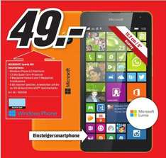 [Lokal Mediamärkte Chemnitz] Microsoft Lumia 535 Smartphone (5 Zoll (12,7 cm) Touch-Display, 8 GB Speicher, Windows 8.1) weiß oder orange für je 49,-€