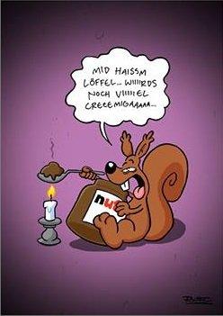 kostenlose Nicht Lustig /Ruthe Postkarte mit eigenem Text und wählbarem Cartoon verschicken bis Ostermontag (iOS, Android) auch Nutella Postakarte :)