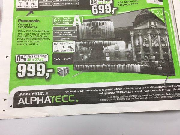 (Alphatecc) Panasonic TX55CRW734 UHD Curved 1000Hz  999 €!!!