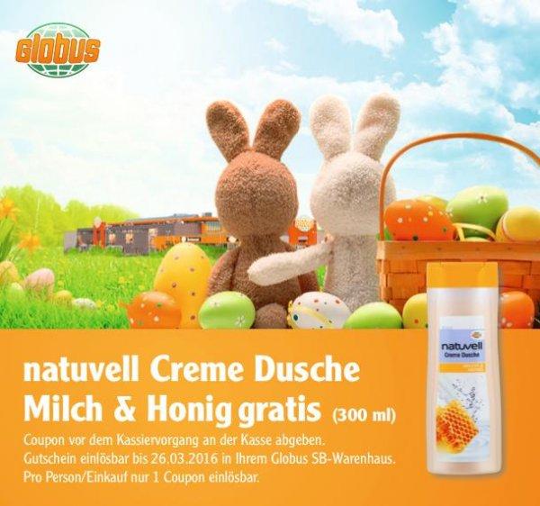 [GLOBUS] Gratis-Coupon für eine natuvell Creme Dusche Milch&Honig