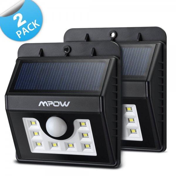 [Amazon - Prime] Mpow [3 Intelligiente Modi] 8 helle LED Solarleuchten Drahtlose Wetterfeste Sicherheits Licht-Lampen Bewegungs-Sensor 3-in-1 1 Stück 15,03 Euro, 2 Stück 25,51 Euro