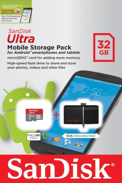 32GB microSD + 32GB USB 3.0 SANDISK