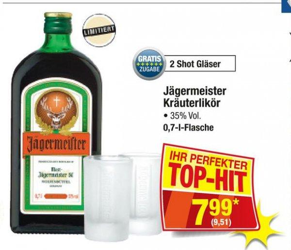 Jägermeister 0,7l + 2 Shot Gläser für 9,51 € (brutto) @ Metro (31.03. - 06.04.)