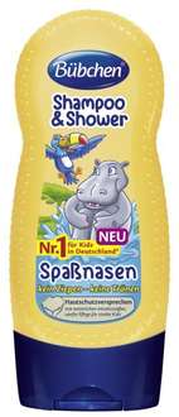 [Amazon Plus Produkt] Bübchen Kids Shampoo und Shower Spaßnasen, 4er Pack (4 x 230 ml) - lange Lieferzeit!