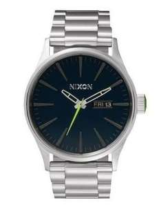 Uhr: Nixon The Sentry SS Midnight Blue / Volt Green