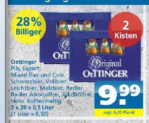 Oettinger Pils, Export, Mixbier, Alk-Frei, Radler, Leicht usw  2Kästen 10.- bei toom