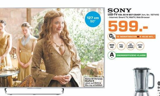 [Lokal Saturn Bielefeld] Sony KDL 50w807 50Zoll Full HD Android für 599€ (statt 999€)
