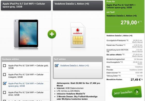 iPad Pro 9.7 Zoll WiFi+ Cellular 32GB mit Vodafone DataGo L Aktion 6GB Datenvolumen LTE mit bis zu 225 Mbit/s