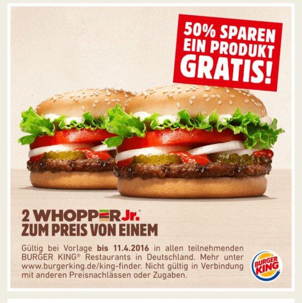 Burger King Whopper Jr. 2 zum Preis von 1