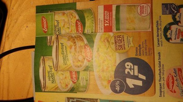 Erasco Eintöpfe bei Real für 1,29 und gratis Frischhaltebox ab 6 St.