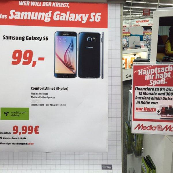 Galaxy S6 mit 1GB Allnet Flat + 30€ Media Markt Gutschein MM Hamburg Hummelsbüttel