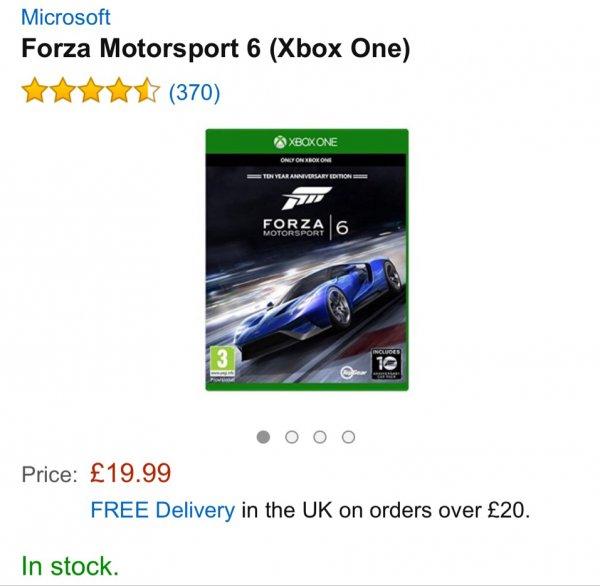Forza Motorsport 6 (Xbox One)  ca. 29€ inkl. Versand. (Amazon.co.uk)