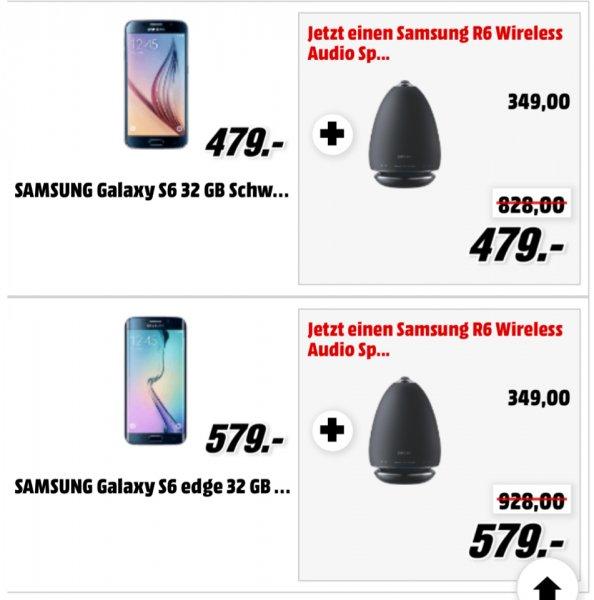 [Mediamarkt] Samsung Galaxy S6 bzw. S6 Edge + Samsung R6 Wireless Speaker für zusammen 479 € bzw. 579 €