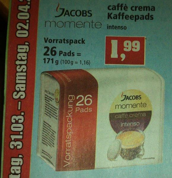 *Lokal* Jacobs Momente caffe crema intenso 26 Kaffeepads Thomas Phillips Dinslaken