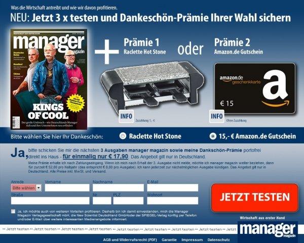 [WEBCENT] 3x manager magazin + 15€ amazon Gutschein + 9,00€ Cashback für 17,90€ (6,10€ effektiver Gewinn)