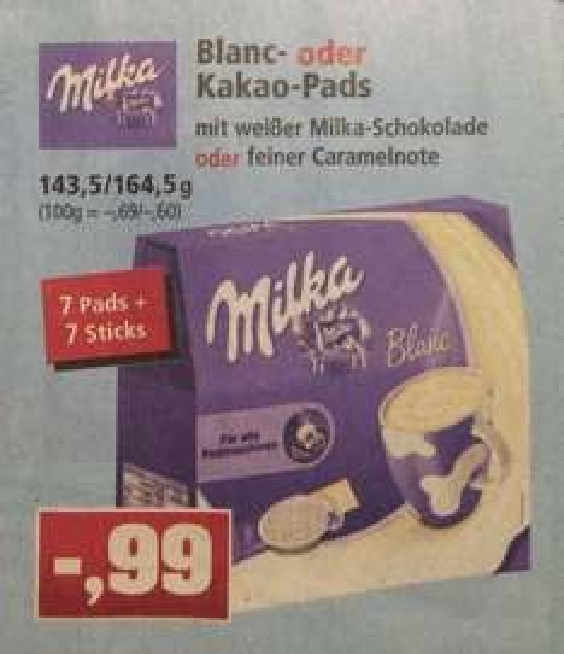 ( Thomas Philipps ) Milka Kakaopads 7+7 Sorte Weiße Schokolade oder Caramel