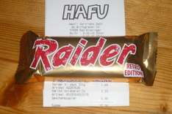 [lokal Hafu Bad Kissingen - bundesweit?] Raider Retro Edition - Schokolade Keks Riegel - 6x2St/300g - Twix €1,49