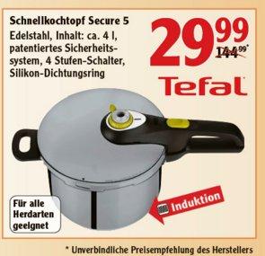 """[GLOBUS BUNDESWEIT] Tefal Schnellkochtopf """"Secure 5"""" 4 Liter für 44,99€ bzw. 39,99€/29,99€"""