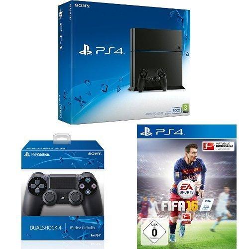 PlayStation 4 - Konsole (500GB, schwarz) [CUH-1216A] + 2 DualShock 4 Controller + FIFA 16 - Standard Edition