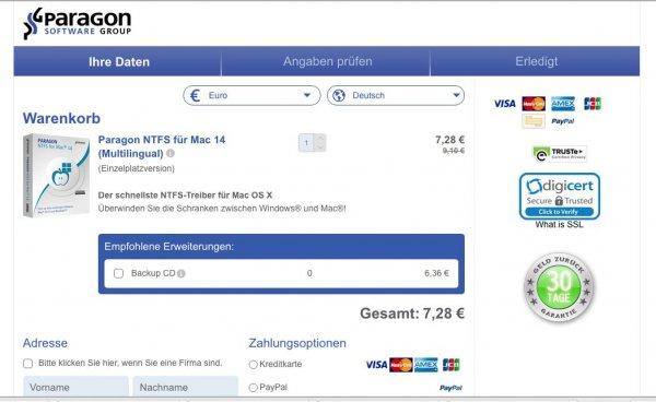 Paragon NTFS für Mac 14 (Multilingual) für 7,28€ (Lese- und Schreibzugriff auf NTFS-Festplatten unter Mac)
