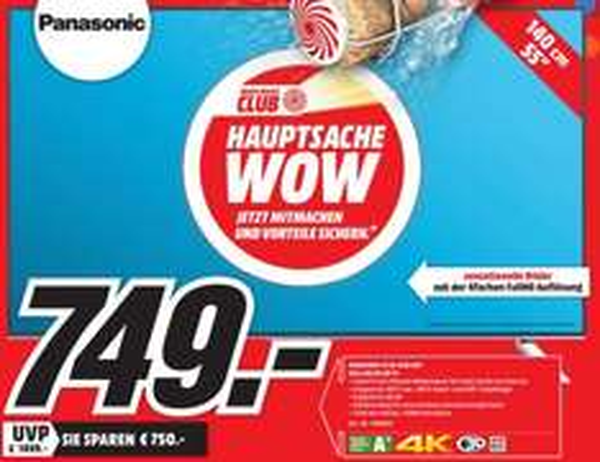 [Lokal Mediamarkt Heilbronn] Panasonic TX-55CXW404 LED, 55 Zoll, UHD 4K,3D,SMART TV,W-Lan, EEK: A+ für 749,-€