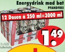 [NORDHESSEN] RB-BECKER: 12x Mad Bat Energy Drink 0,25l für 1,49€ (=0,12€/Stück) Pfandfrei