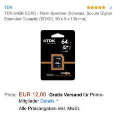 (Amazon Prime) TDK 64GB SDHC Class 10 für 12€