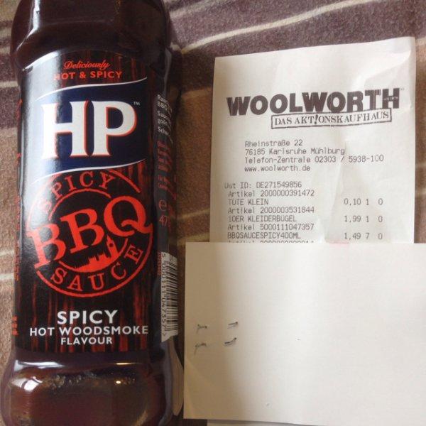 (Lokal Karlsruhe?) HP Spicy BBQ Sauce und weitere für nur 1,49€ bei Woolworth