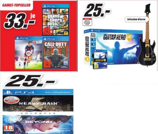 [Lokal Mediamarkt Koblenz und Neuwied] Fifa16 (PS4) / GTA 5 (PS4) / COD Black Ops 3 (PS4) für je 33,-€ oder Guitar Hero Live (Spiel + Gitarre) 25,-€ oder The Heavy Rain & Beyond: Two Souls Collection (PS4) für 25,-€