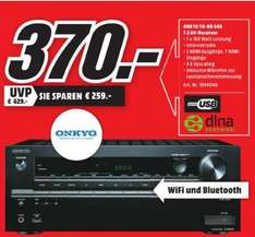 [Lokal Mediamarkt Flensburg ab 31.03] Onkyo TX-NR646 (B) 7, 2-Ka­nal Netz­werk-AV-Re­cei­ver (DTS: X-fä­hig, Dolby Atmos, 160 Watt, Wire­less Lan, Blue­tooth, Air­Play, Mu­sik­diens­te, DLNA) schwarz für 370,-€