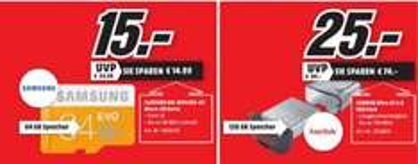 [Lokal Mediamarkt Flensburg ab 31.03] Samsung EVO microSDXC 64GB UHS-I U1 (MB-MP64DA) für 15,-€ oder SanDisk Ultra Fit USB-Flash-Laufwerk 128GB USB 3.0 bis zu 130 MB/Sek. für 25,-€