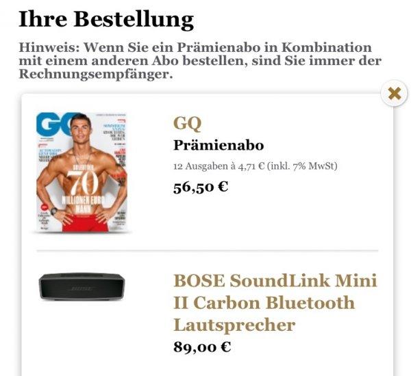 GQ Jahresabo + Bose Soundlink Mini II Carbon für 145,50€