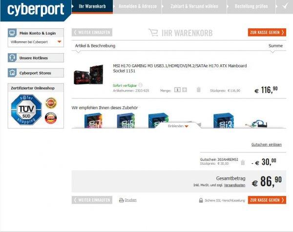 Cyberport MSI Geburtstagsaktion Mainboard H170 Gaming M3  30€ Rabatt